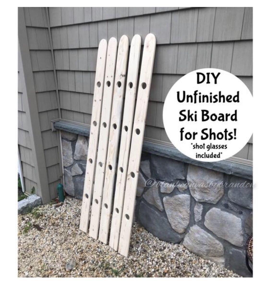Unfinished Ski Board for Shots, DIY Wood Shot Board, Do It