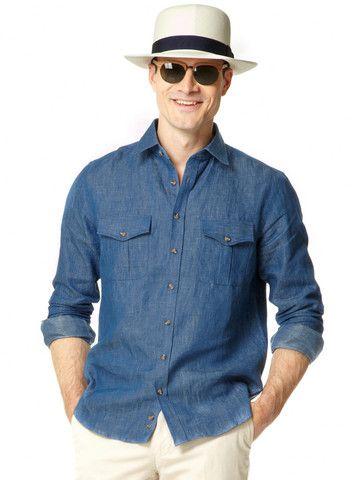 Mens Linen Safari Shirt   Mens Travel Clothing   Gerald Webster