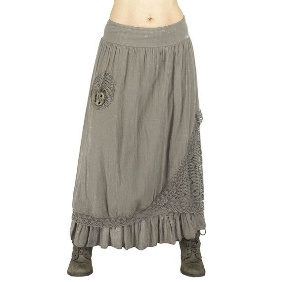 long boho grey beige skirt with lace hippie chic long skirt shabby chic lace skirt mori girls. Black Bedroom Furniture Sets. Home Design Ideas