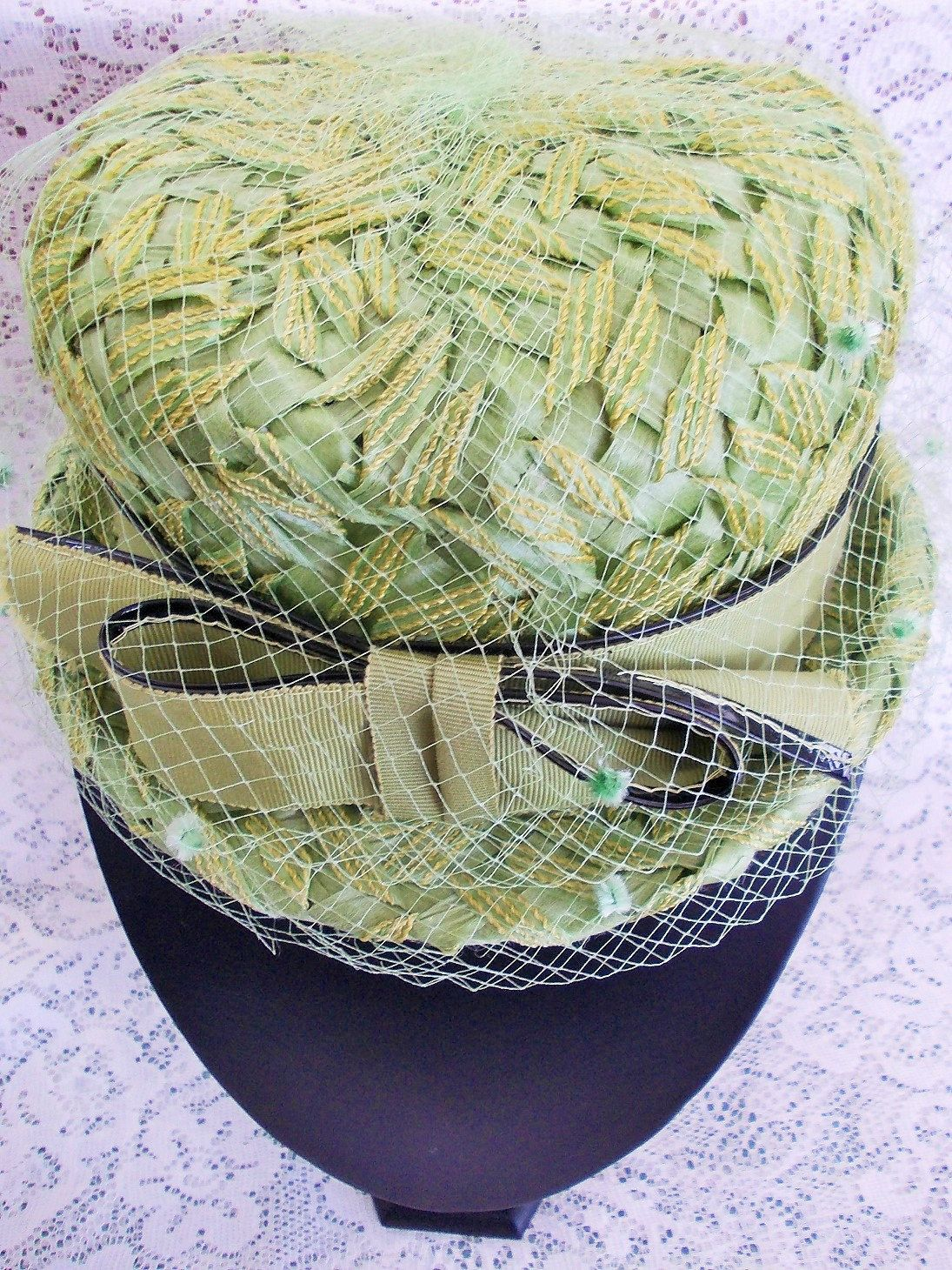 Vintage Green Ladies Hat, Union Made, Straw & Net, Grosgrain Ribbon ...