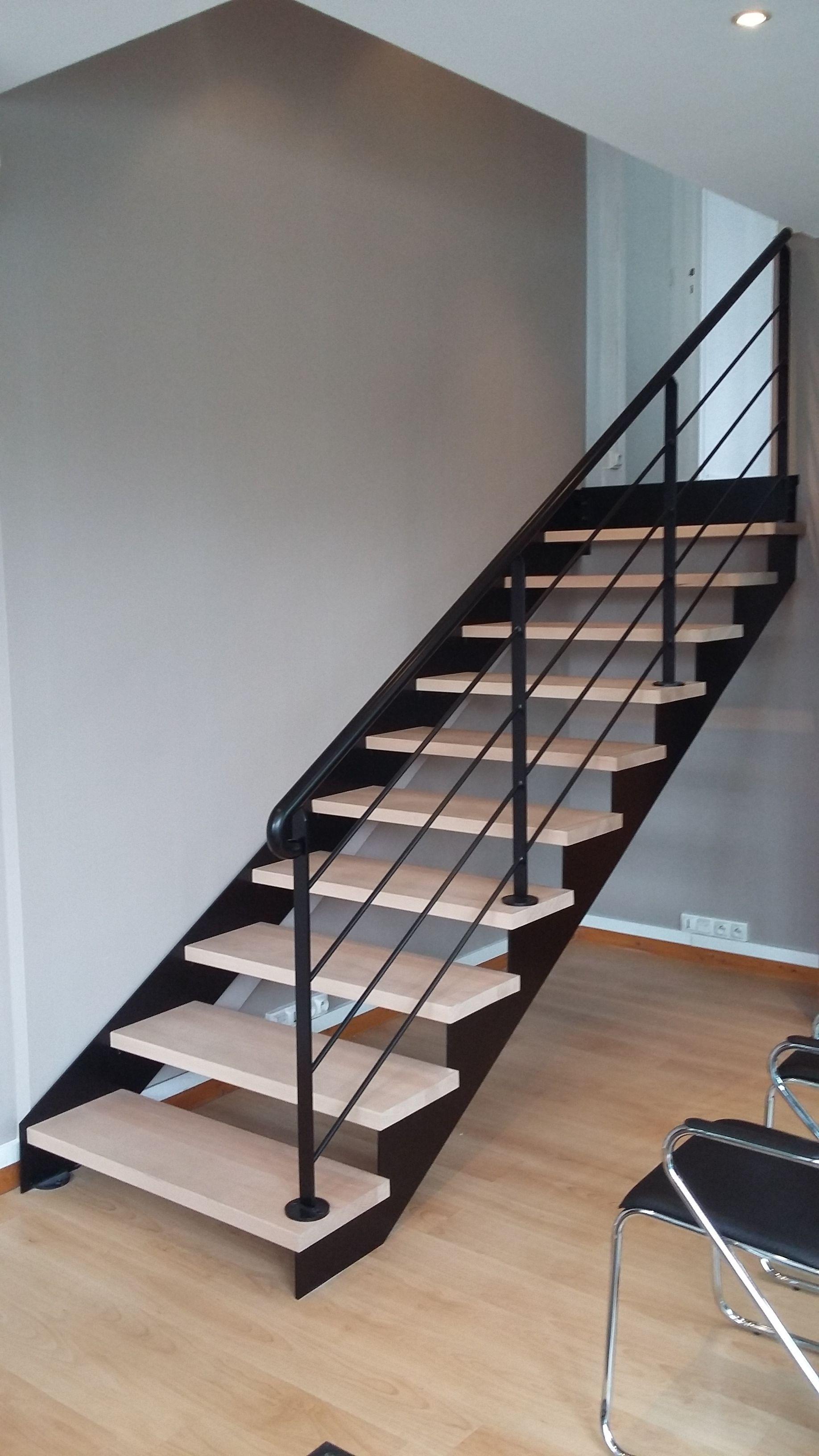 Escalier Bois Metal Noir nos verrières - escalier design 14 - escalier limon fer plat