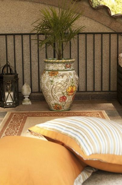 Exquisite birds and botanicals, intricately hand painted on smooth all-weather resin, will enchant your entryway or outdoor living area.  | Atlanta Symphony Orchestra Show House 2014