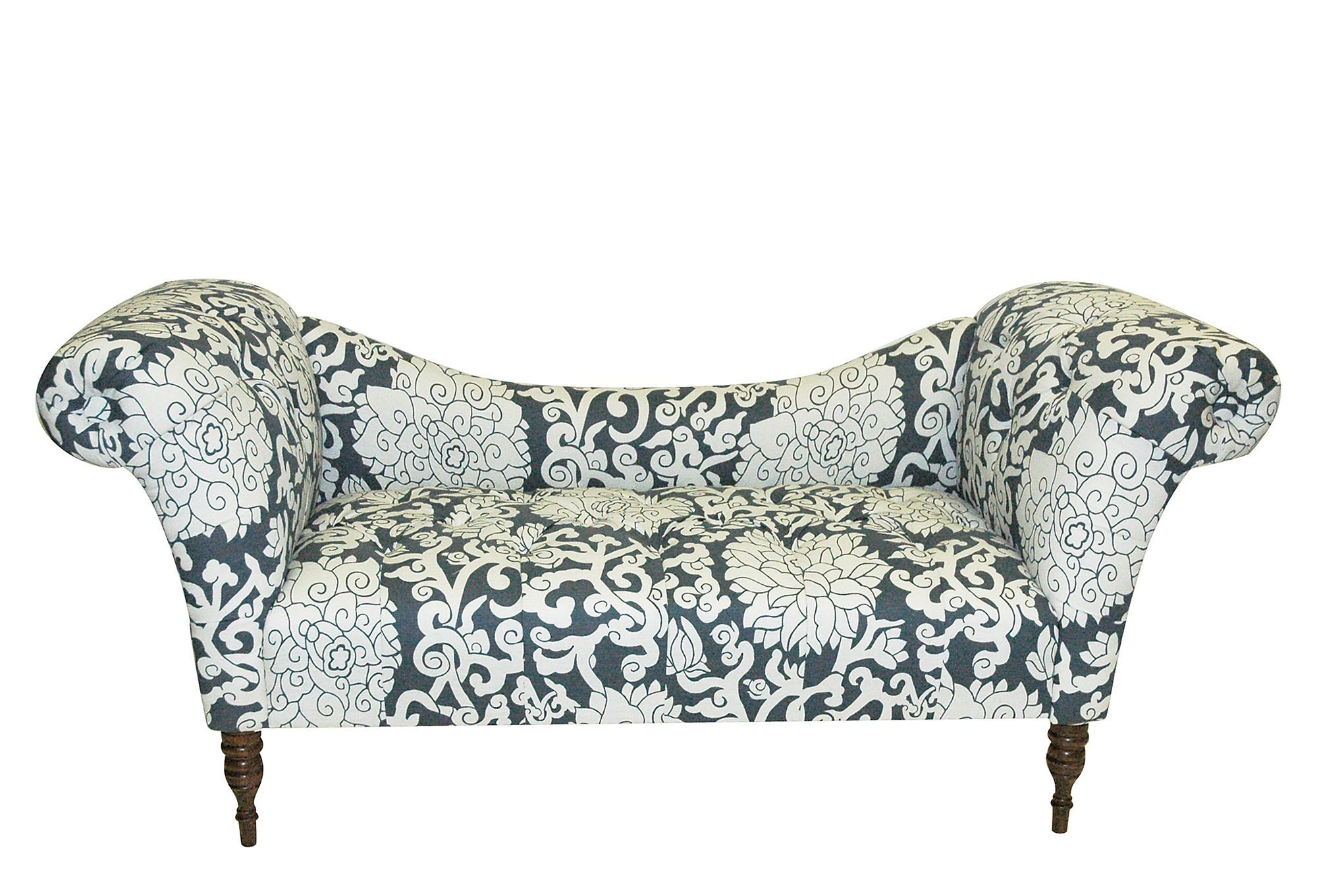 One Kings Lane - Upholstered Favorites - Cameron Tufted Chaise, Smoke/White