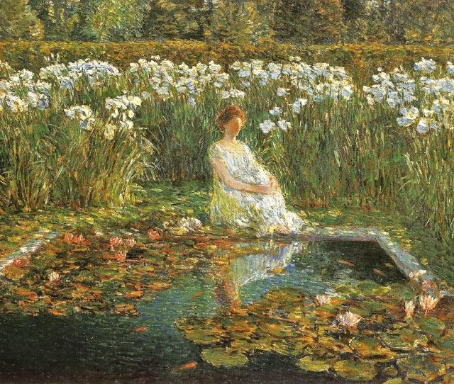 It's About Time: Frederick Childe Hassam (American Impressionist, 1859-1935). Lilies