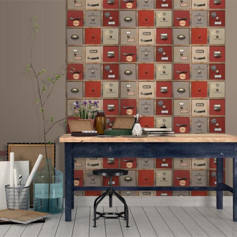 Papier Peint Trompe L Oeil Casier Atelier Rouge Voyages Ugepa Papier Peint Papier Peint Casier Papier Peint Vinyle