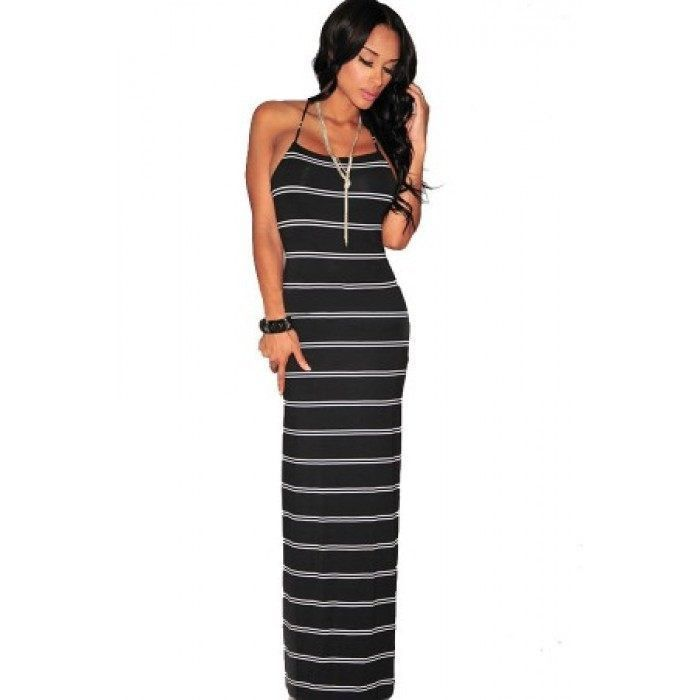 Women summer Striped Beach Dresses Casual Spaghetti Strap ...