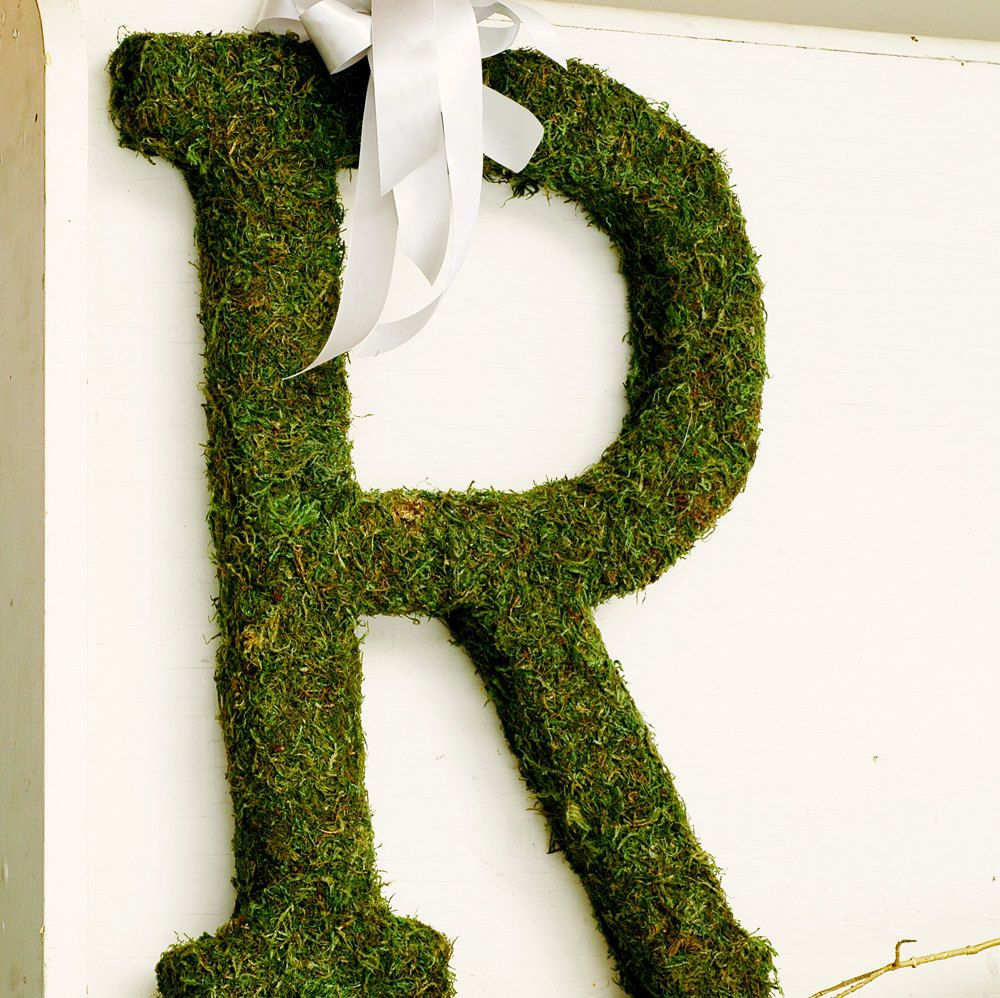 Large MOSS Covered Letter 24 Wreath