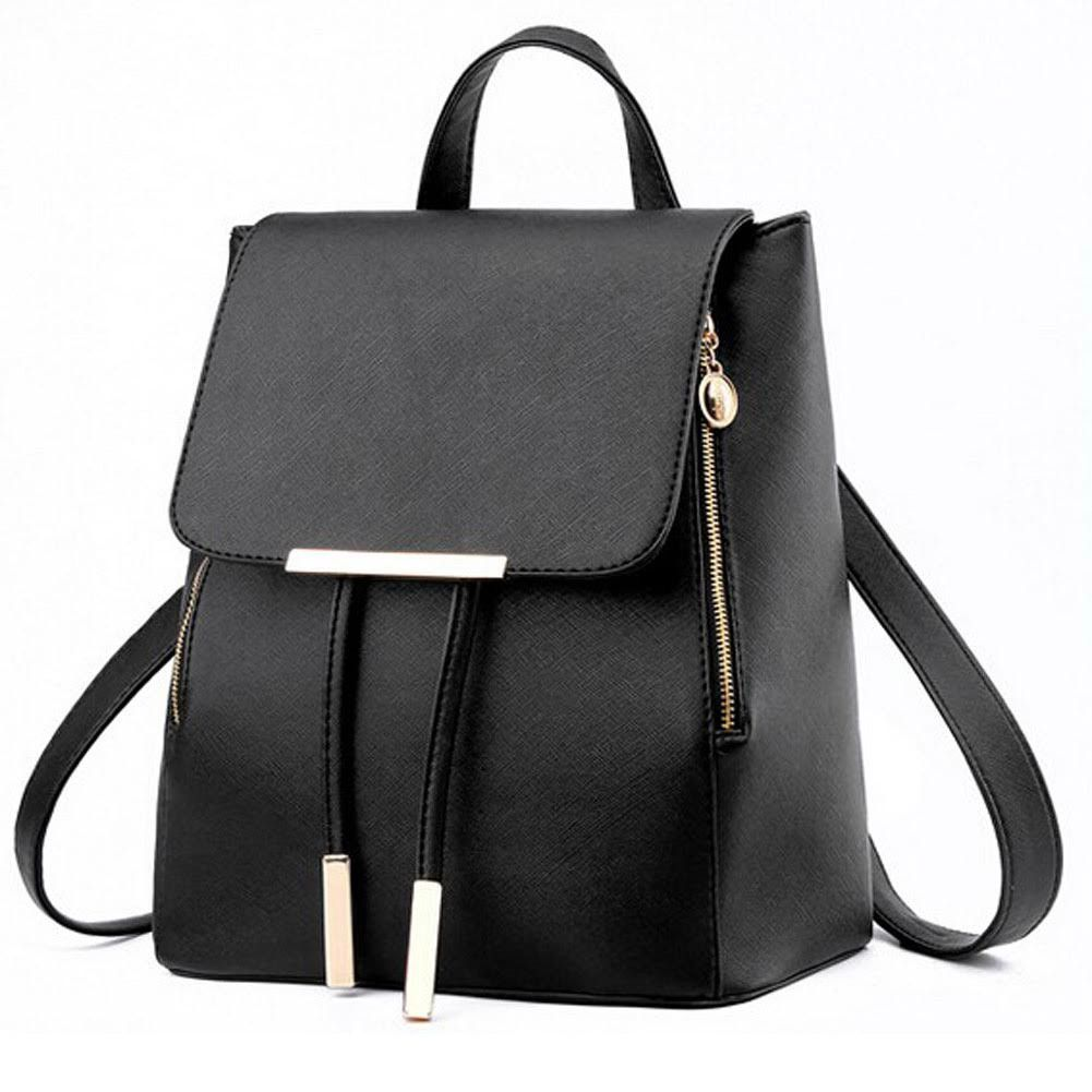Black Suffiano Leather Backpack, Purse, Bag | Drawstring backpack ...
