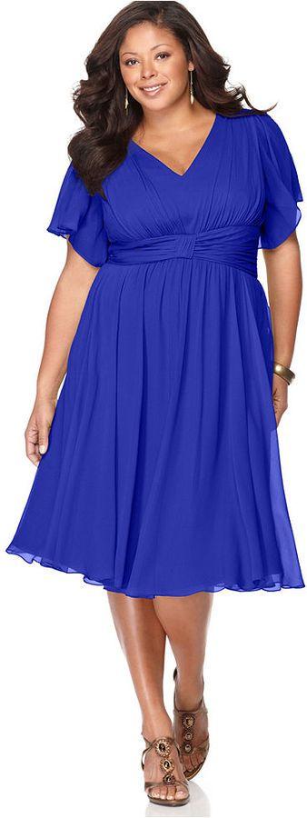 Suzi Chin Plus Size Dress, Flutter Sleeve Empire Waist thestylecure.com