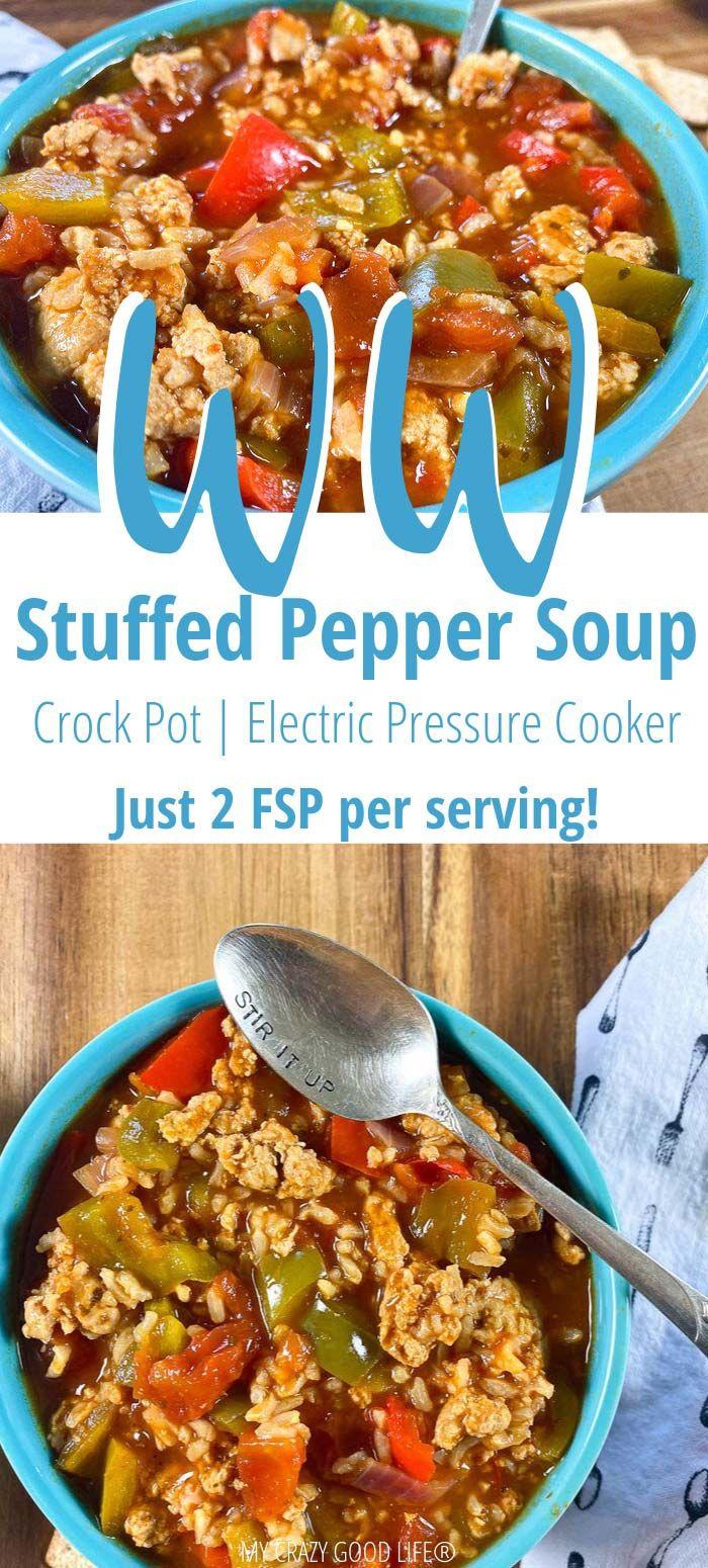 Weight Watchers Stuffed Pepper Soup | Instant Pot & Crockpot #healthycrockpots