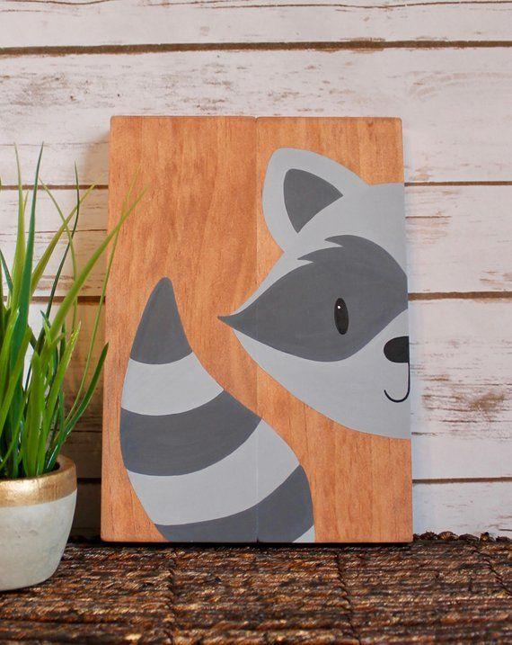 Baby Nursery bedroom wall art decor, woodland forest animal friends. Hand painted: Bear, skunk, owl, raccoon, fox, deer, rabbit, squirrel.