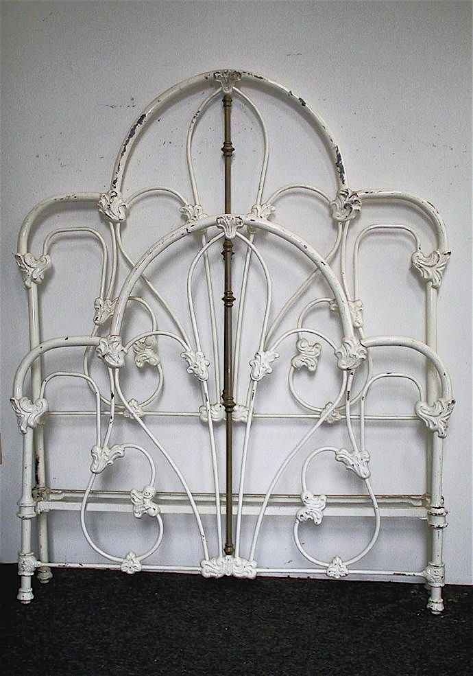Great Tall Victorian Style Iron Bed w/ Unique French Corner Sides ...