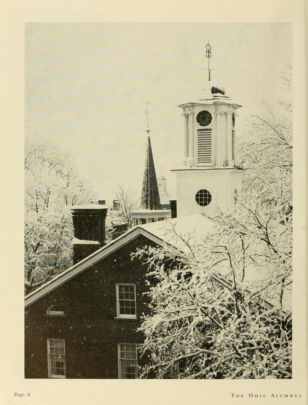 """The Ohio Alumnus, January 1960. """"Cutler Tower, Galbreath Chapel tower and Bryan Hall tower form interesting pattern."""" :: Ohio University Archives"""