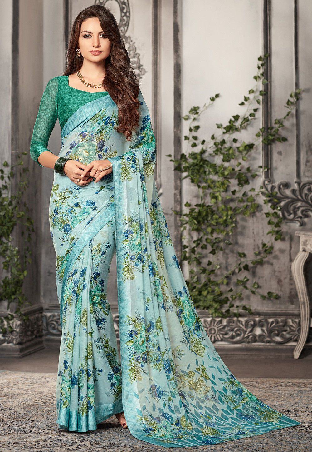 d11917ca7a07bd Buy Digital Printed Chiffon Saree in Pastel Blue online
