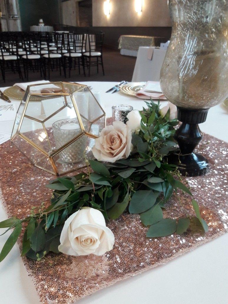 Rose Gold Wedding Centerpiece Garlands Using Seeded Eucalyptus Italian Ruscus Quicksand And Vendela Roses