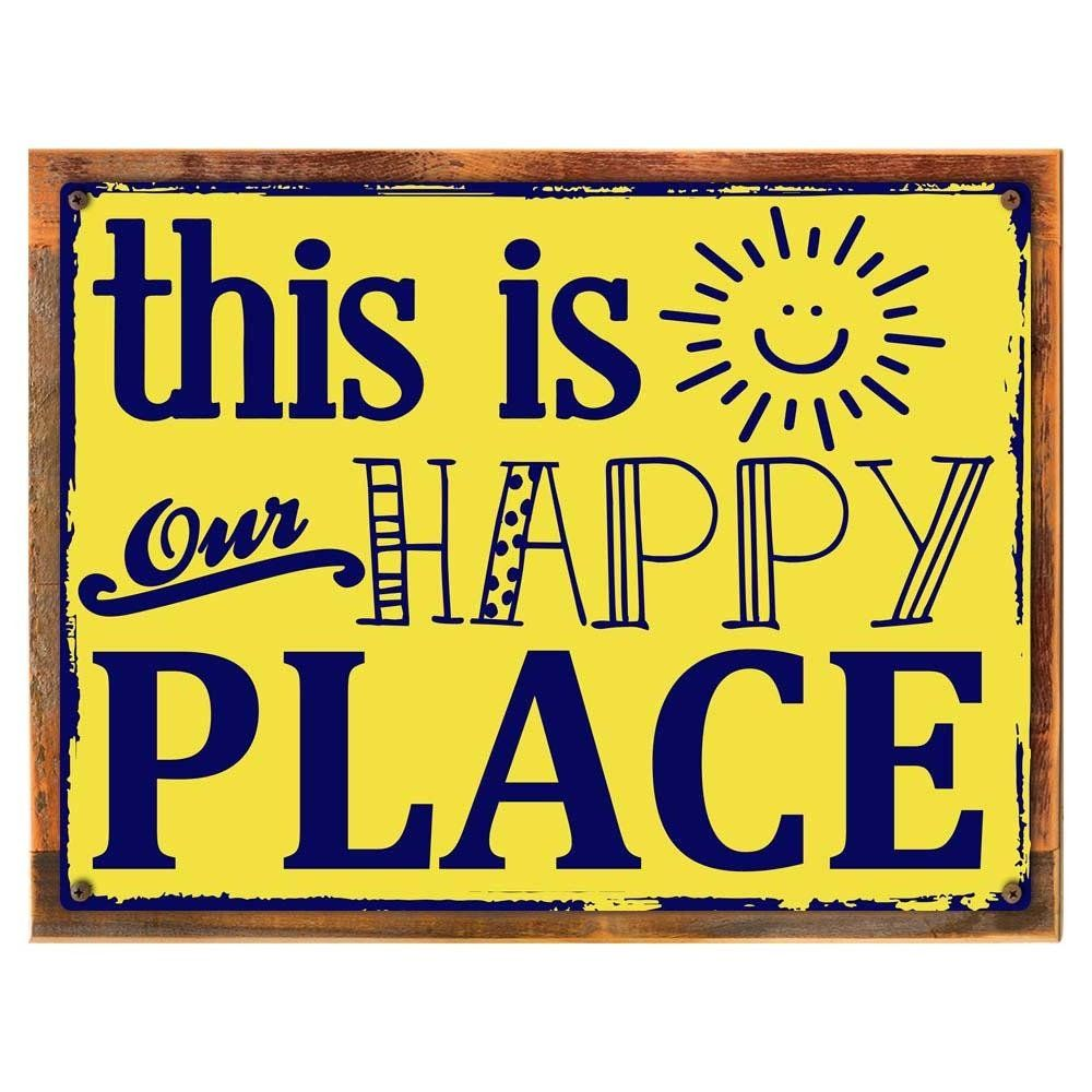 Wood-Framed This Is Our Happy Place Metal Sign, Family, Home Décor ...