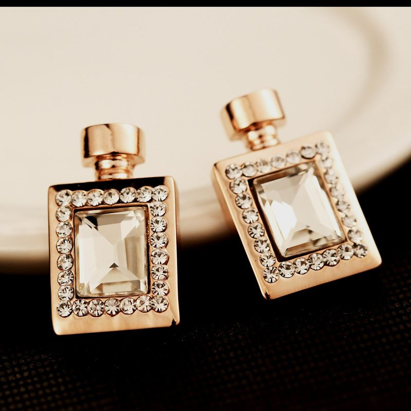 Rhinestone rose gold color earings fashion jewelry perfume bottle