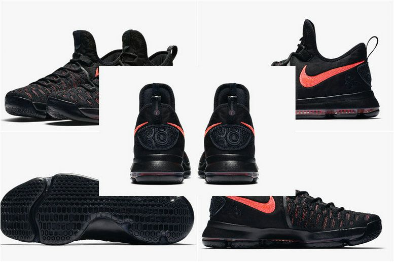2452fc29f938 Nike Kevin Durant KD 9 Aunt Pearl 881796-060 Black Hot Punch Official