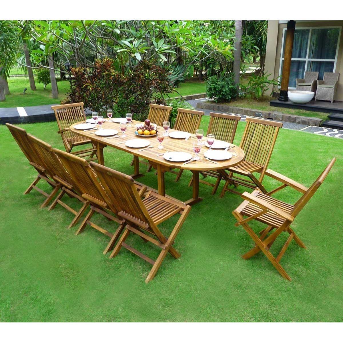 Salon de jardin en teck - ensemble pour 10 personnes - 8 ...