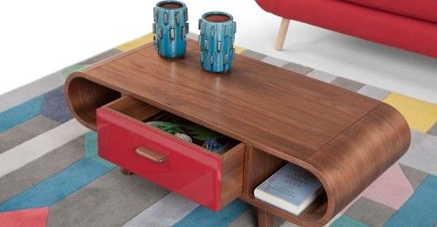 Fonteyn Coffee Table in walnut and red | made.com