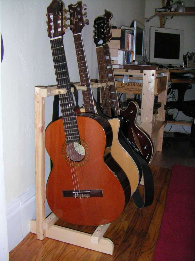 Wood Guitar Stands Multiple Guitars Wooden Thing