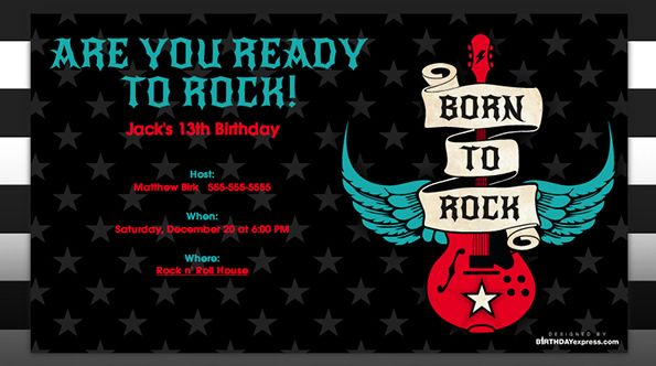 Sparkles Rock And Roll Birthday Invitations