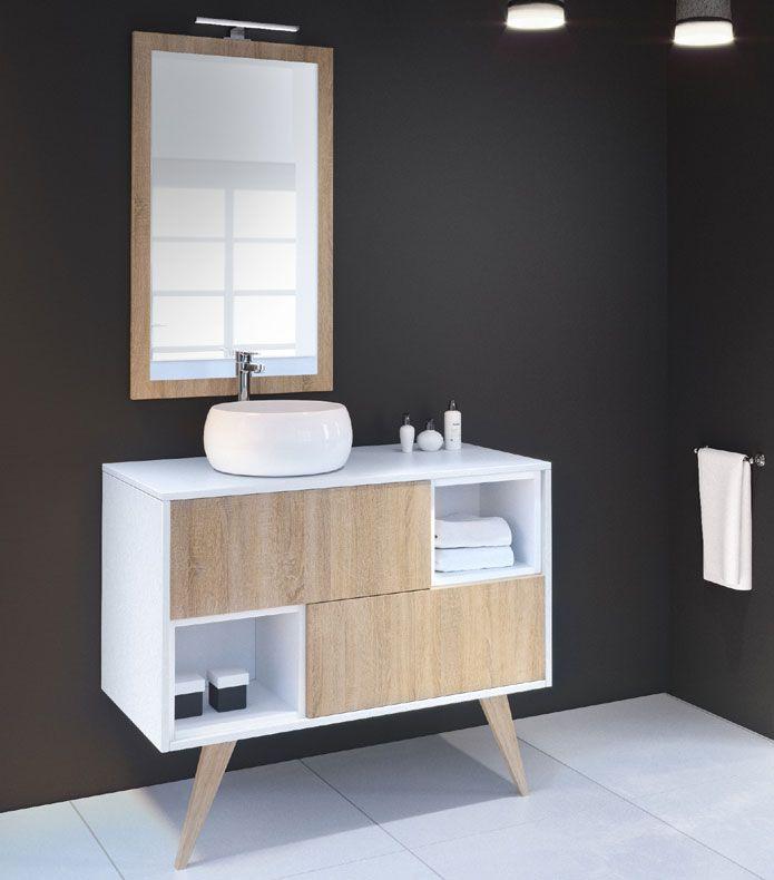 Delalande meuble avec vasque posée portes sans poignée modulable - Meuble De Salle De Bain Sans Vasque