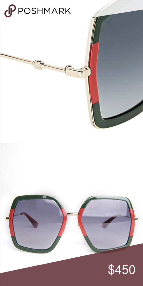 e47a293584f Authentic Gucci oversized frame sunglasses Authentic Gucci oversized  square- frame metal sunglasses- green -red. Brand new with case. Gucci  Accessories ...