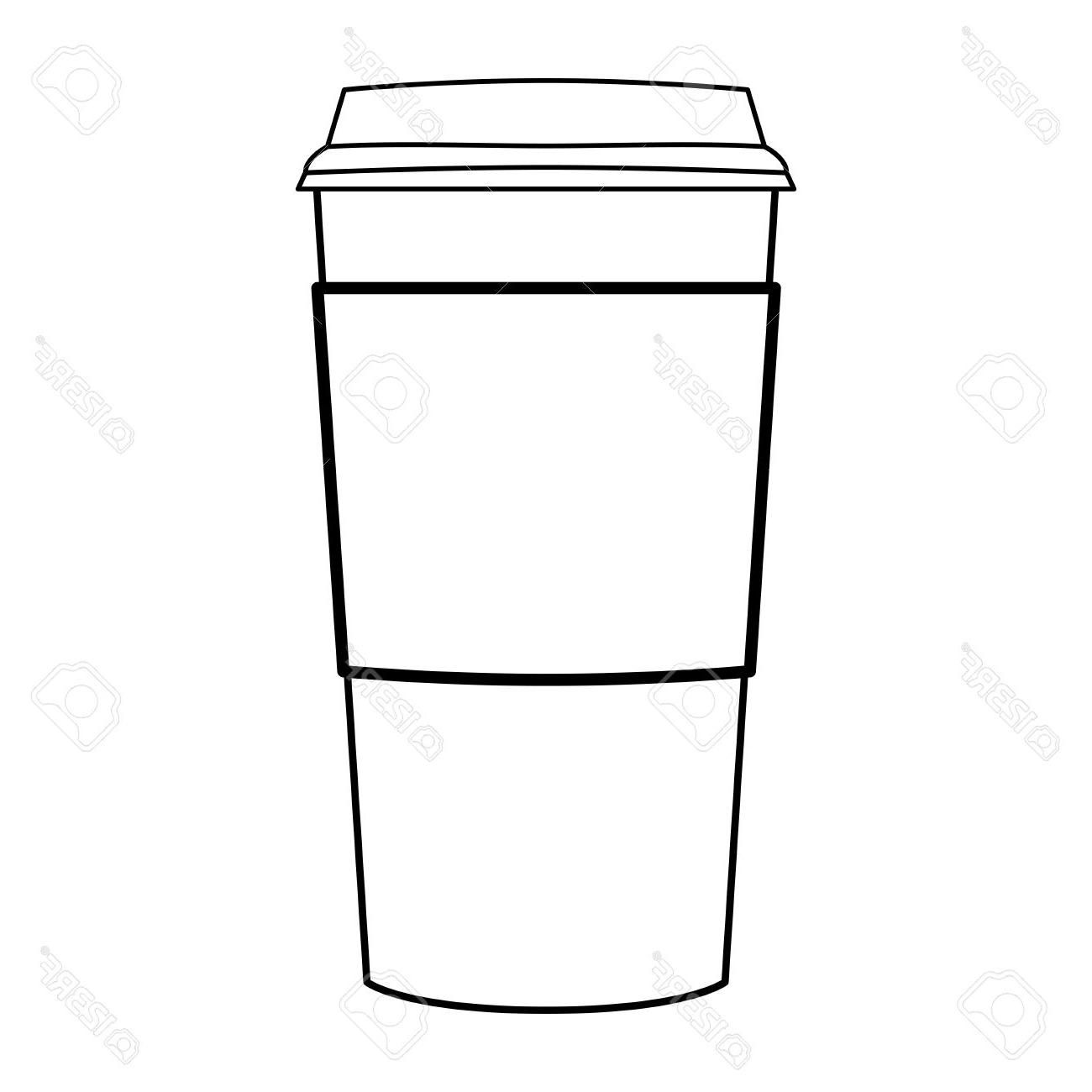 Coffee cup outline. Unique modern vector drawing