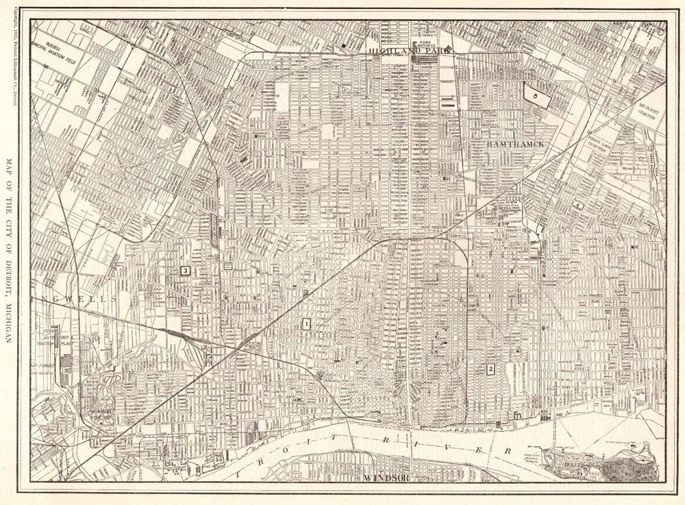 1926 Antique Map of DETROIT Michigan Map Original Vintage Map of ...