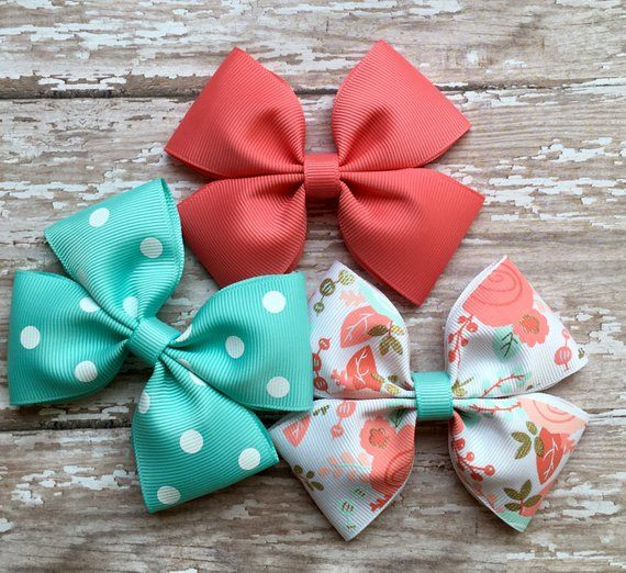 Coral and mint floral 4 inch hair bow set collection pink hearts red and white #hairbows