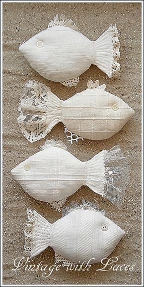 Catch of the Day: Fabric and Lace Fishes - and I don't even like fish! but t... - #sewtoys