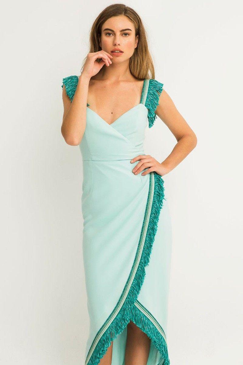 2fd530d90 vestido de fiesta azul flecos pasamaneria para invitadas de boda comunion  bautizo ocasiones especiales apparentia