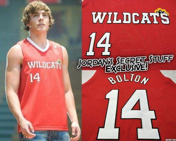 81726b5b603 Troy Bolton High School Musical 3 Wildcats Basketball Jersey Zac Efron  Vanessa Hudgins Gabriella Mon