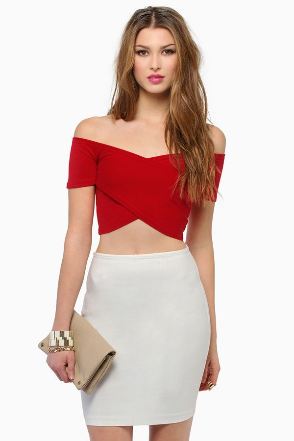 Criss cross wrap off shoulder crop top