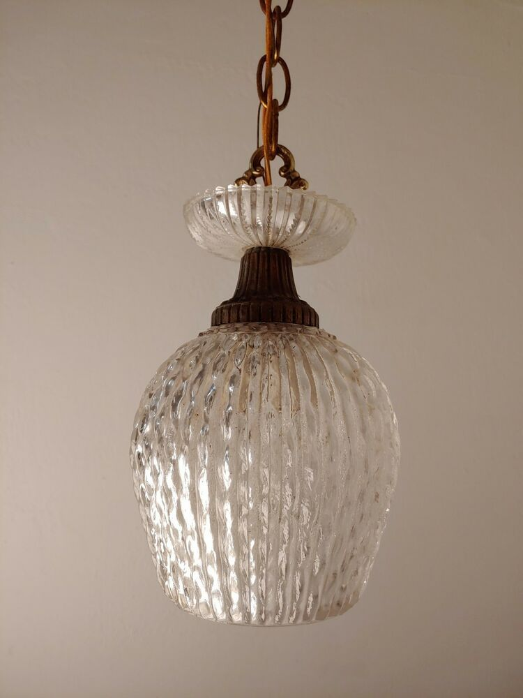 Details About Pair Of Glass Swag Lamps Mid Century Pendant Lights