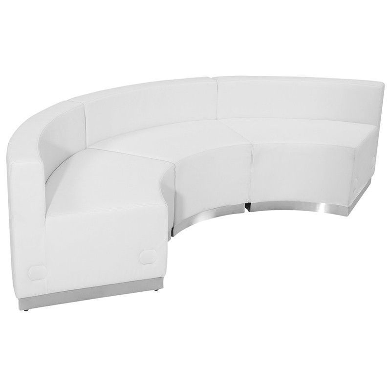 Flash Furniture ZB-803-740-SET-WH-GG HERCULES Alon Series White Leather Reception Configuration, 3 Pieces