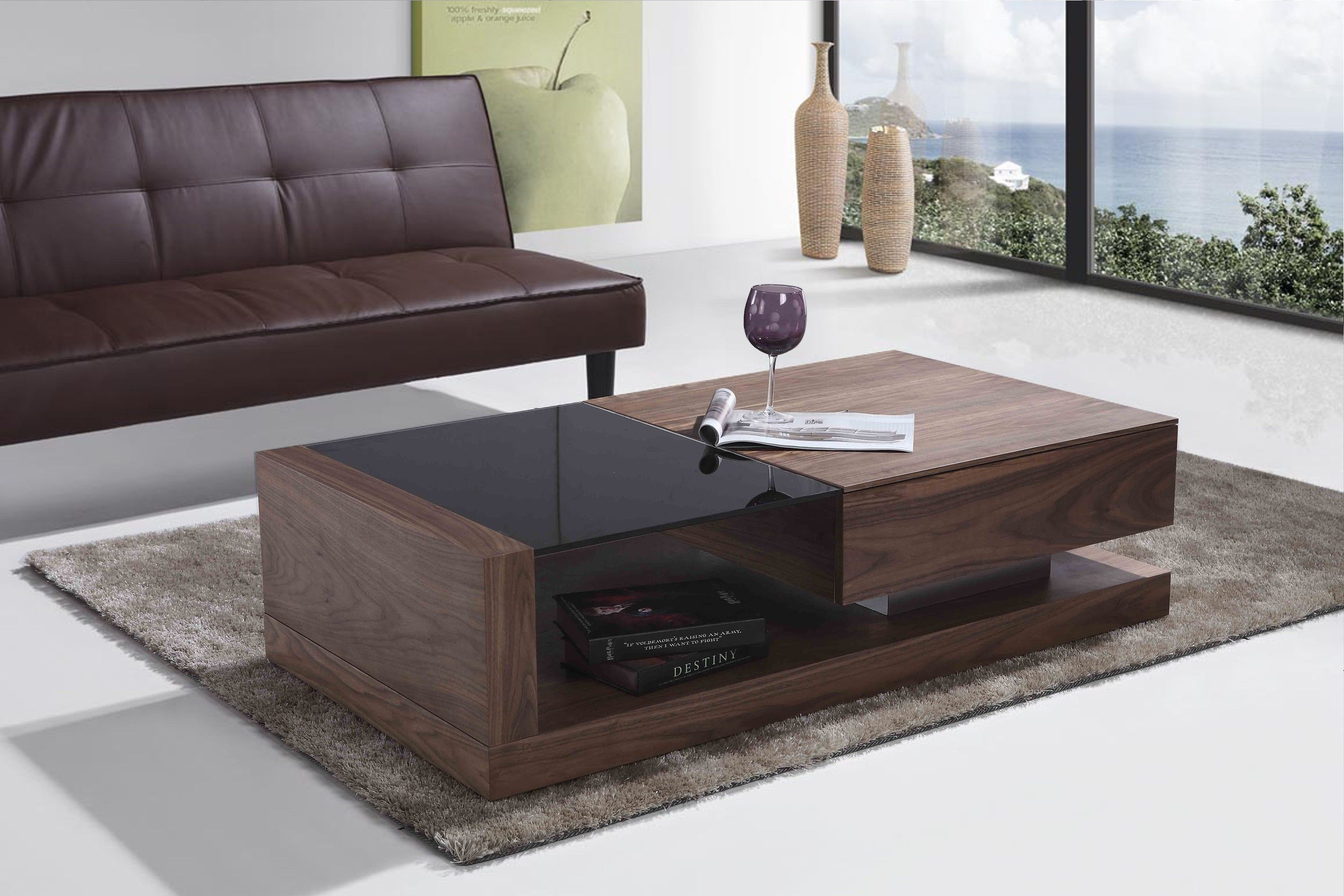 Merveilleux Sofa: Modern Sofa Table With Black Glass On Top Modern White Leather Sofa  Four White