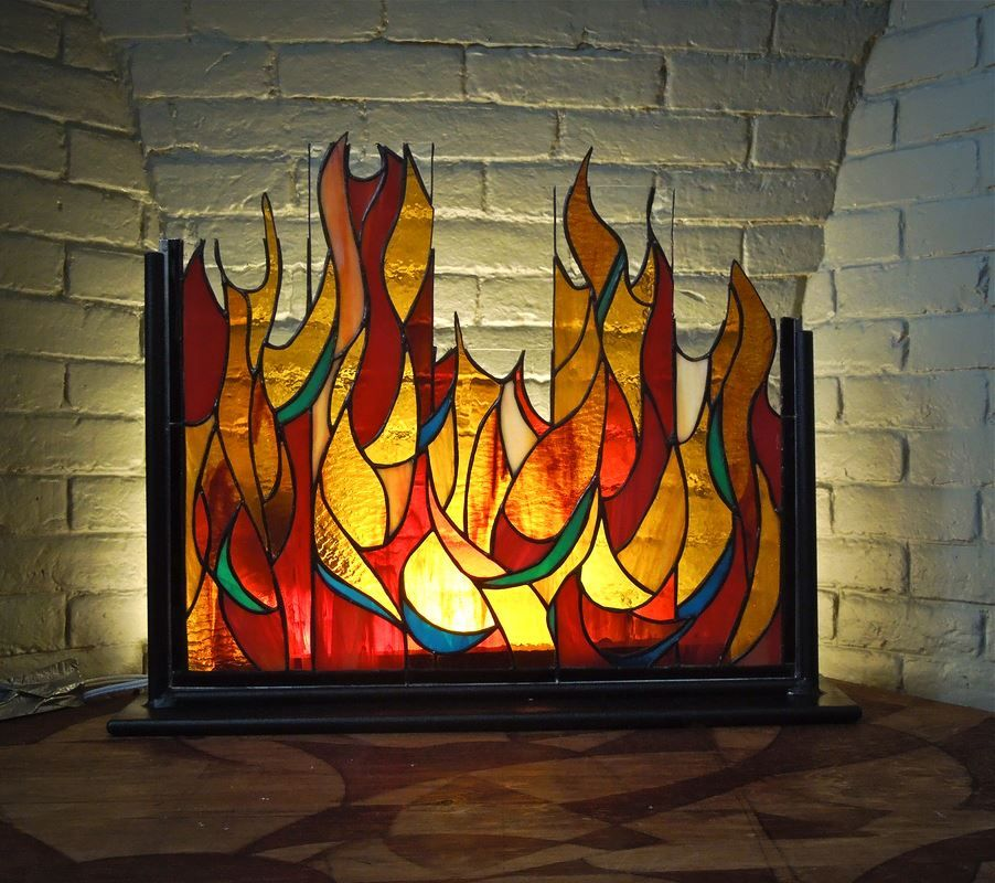 Screen Tiffany Stained Glass Glass Fireplace Stained Glass Crafts