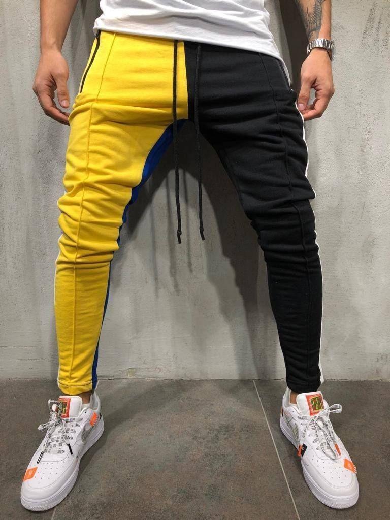 9e73d01c9115 Color Block Jogger Sweatpants - Yellow Black Style Streetwear