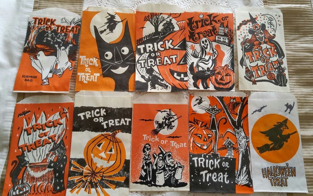 10 Vintage 1950\u0027s,60\u0027s Halloween Trick or Treat Bags Candy