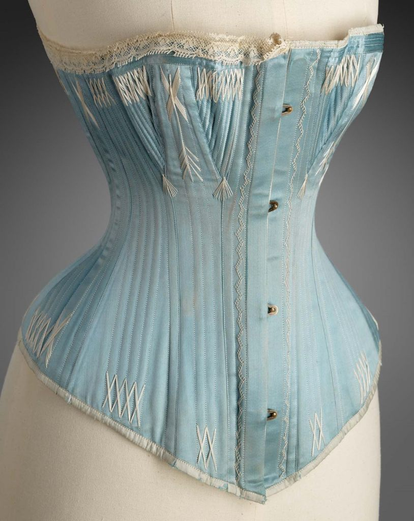 light blue corset light blue corset with hook and eye closures up center 536