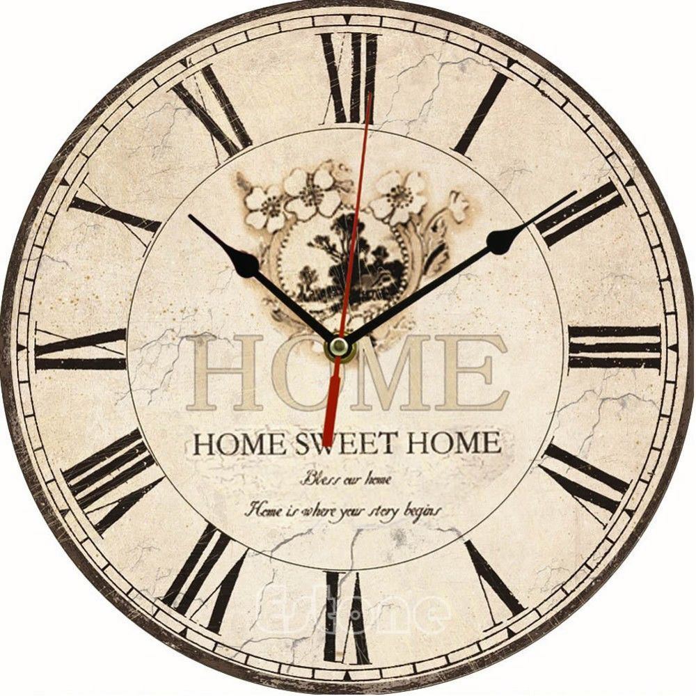 Vintage wooden wall clock large shabby chic rustic kitchen home vintage wooden wall clock large shabby chic rustic kitchen home antique style amipublicfo Image collections