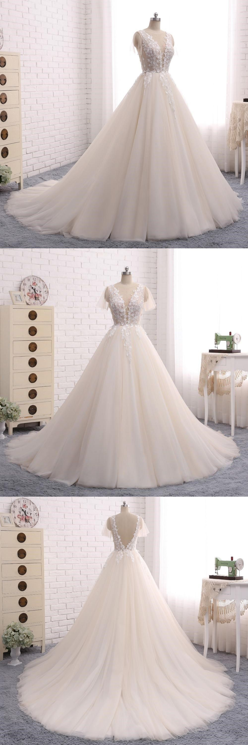 Casual wedding dress with sleeves  Ball Gown Wedding Dresses Romantic Long Train Short Sleeve Lace Big