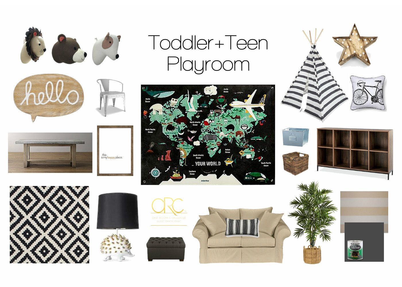 Toddler teen playroom on the blog target stuffed animal heads target stuffed animal heads hello sign wayfair black white rug land of nod world map hedgehog lamp nate burkes gray cocktail ottoman gumiabroncs Images