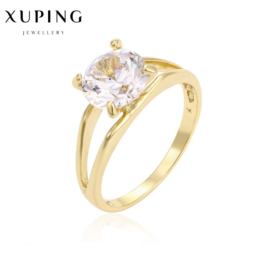 Gold Color Round Female Ring Precious Stone Christmas Birthday Gifts