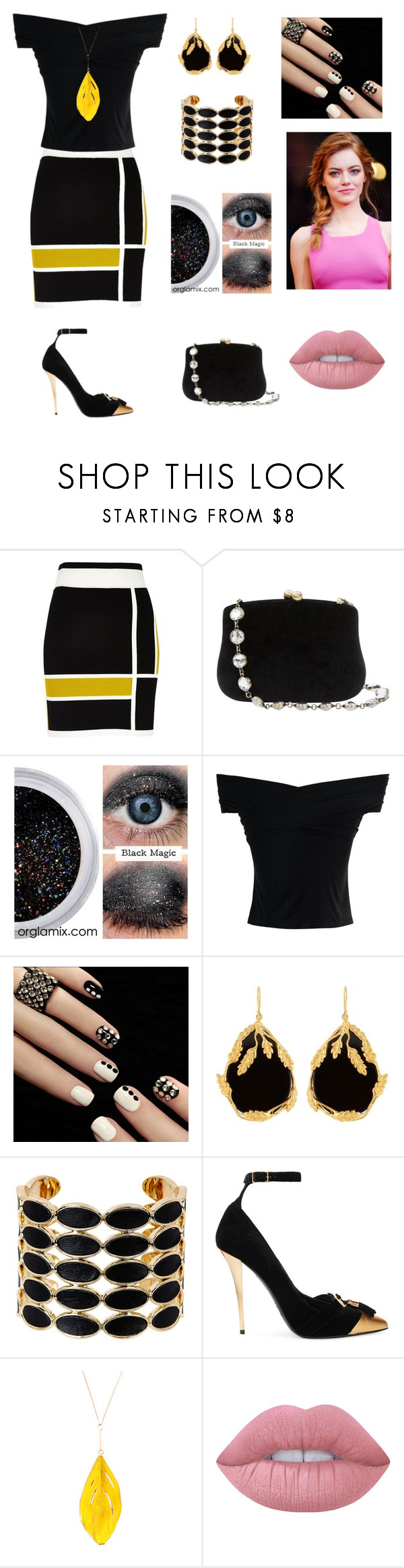"""""""Sin título #95"""" by aolivero ❤ liked on Polyvore featuring River Island, Serpui, Chicwish, Aurélie Bidermann, House of Harlow 1960, Balmain, GALA and Lime Crime"""