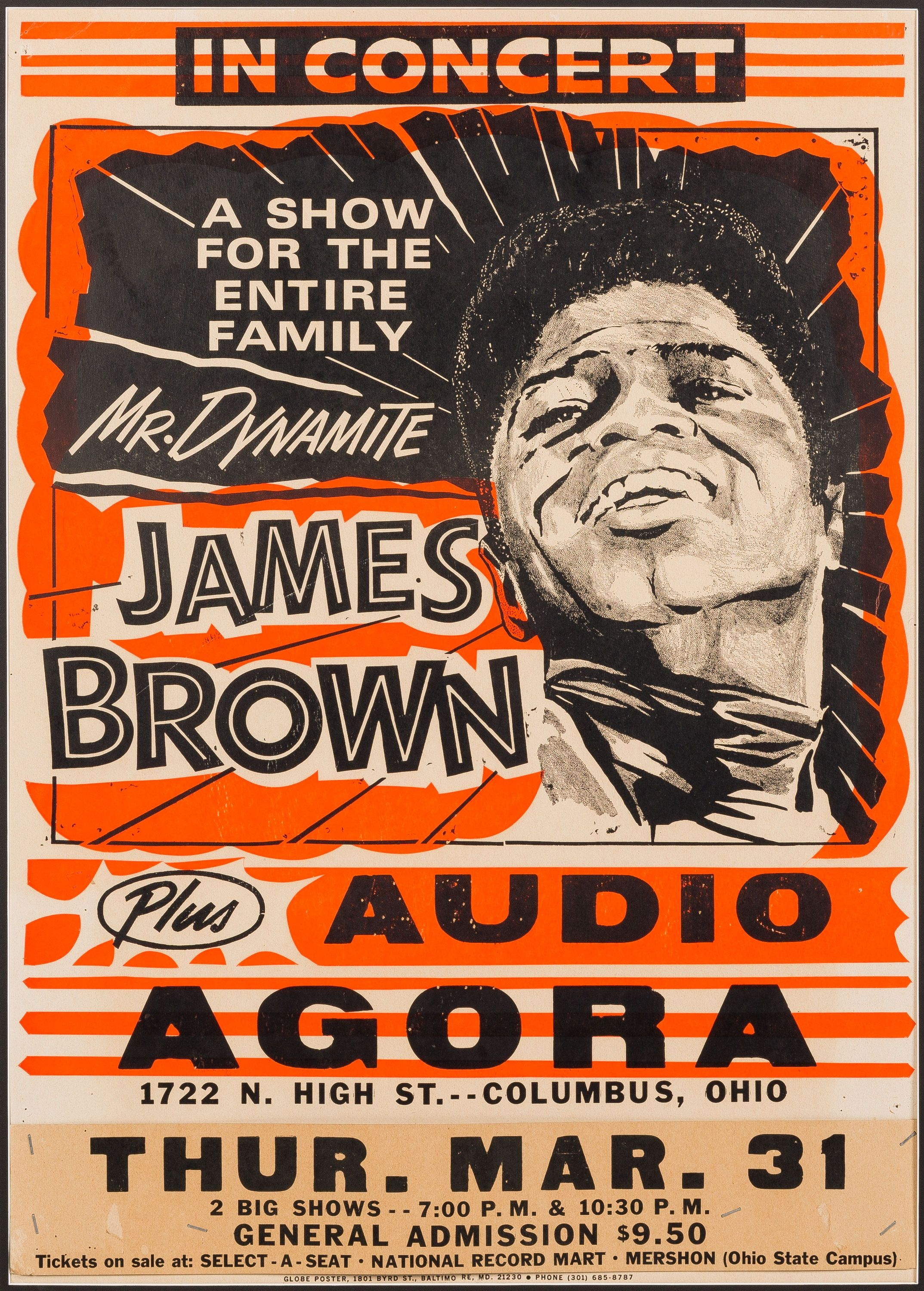 "James Brown ""Mr Dynamite"" 1977 Concert Poster for the Agora"
