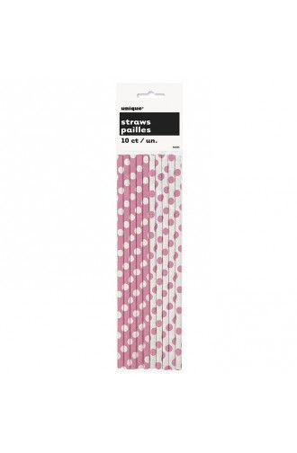Pack of 10 Hot Pink & White Polka Dot Paper Straws -  Polka Dot Party Decorations