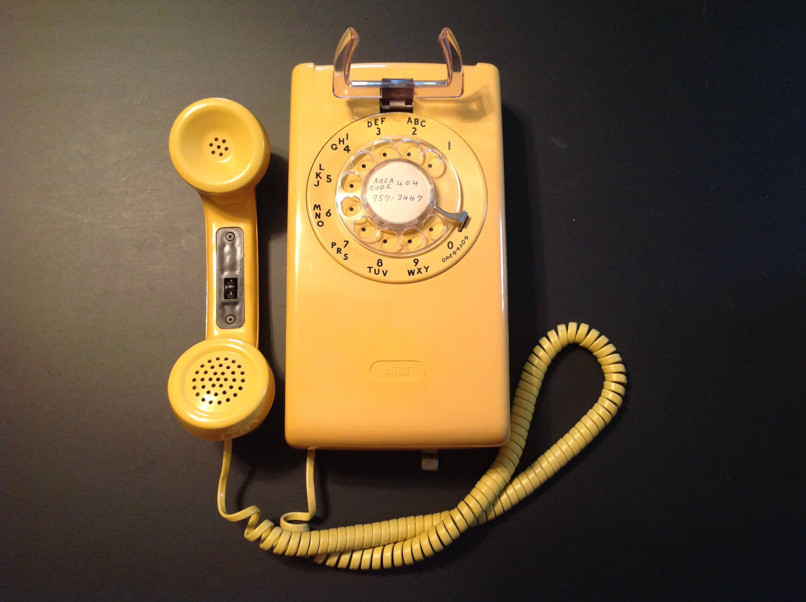 Vintage Yellow Rotary Dial Wall Phone By At T By 2southernpickers